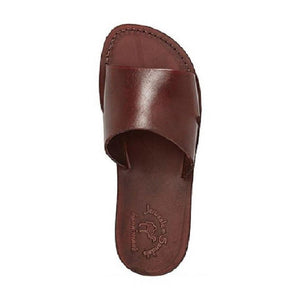 Bashan brown, handmade leather slide sandals - Side View