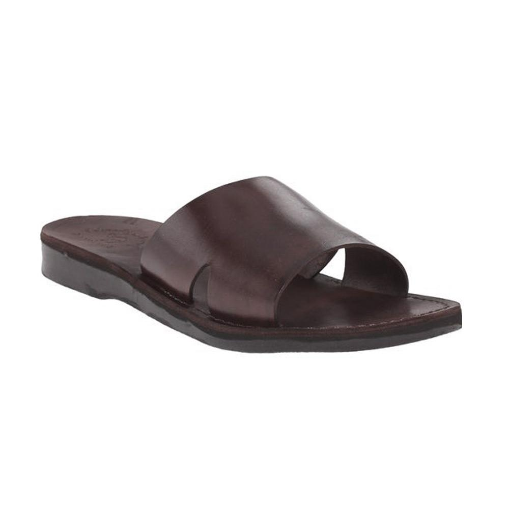 Bashan brown, handmade leather slide sandals - Front View