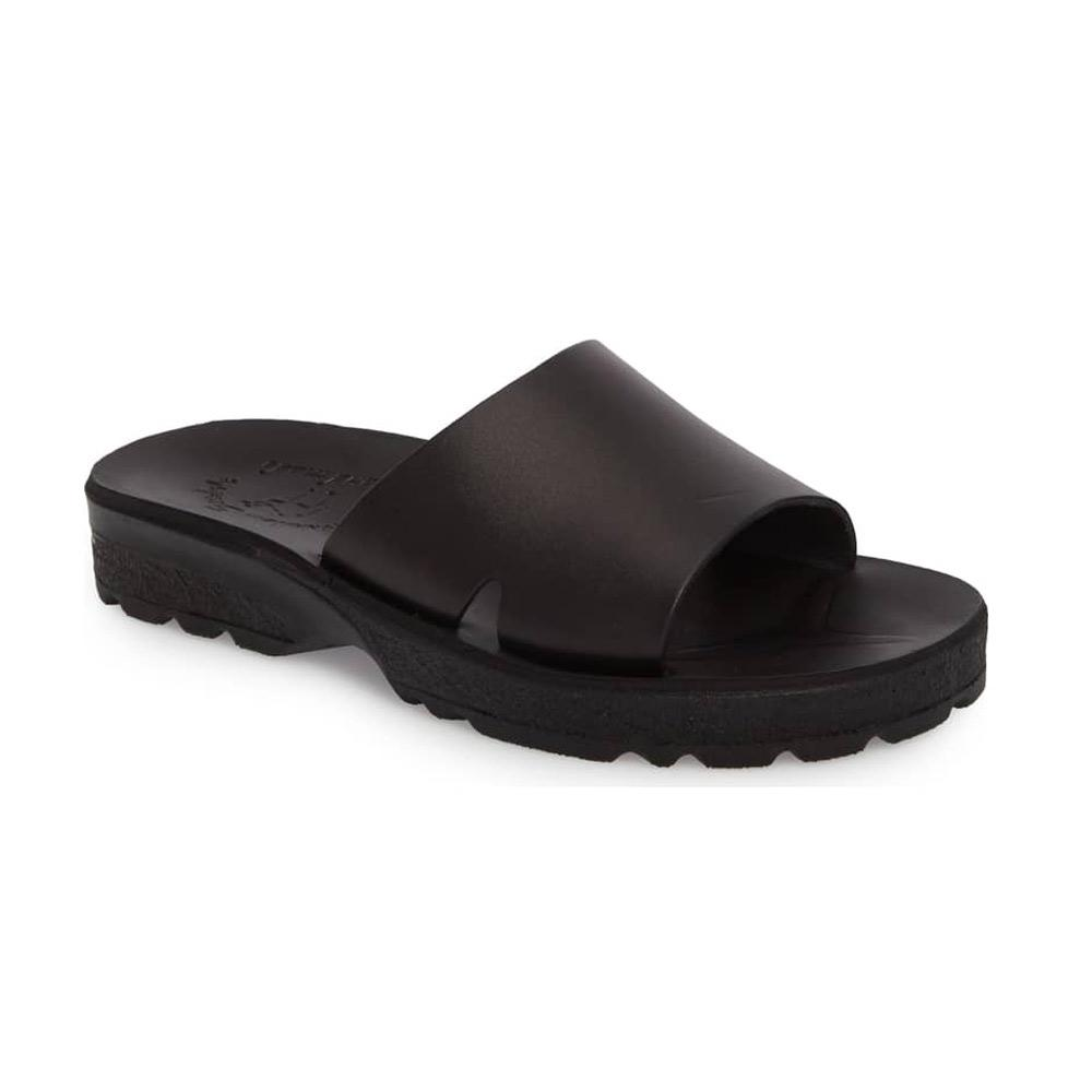Bashan black, handmade leather slide sandals - Front View