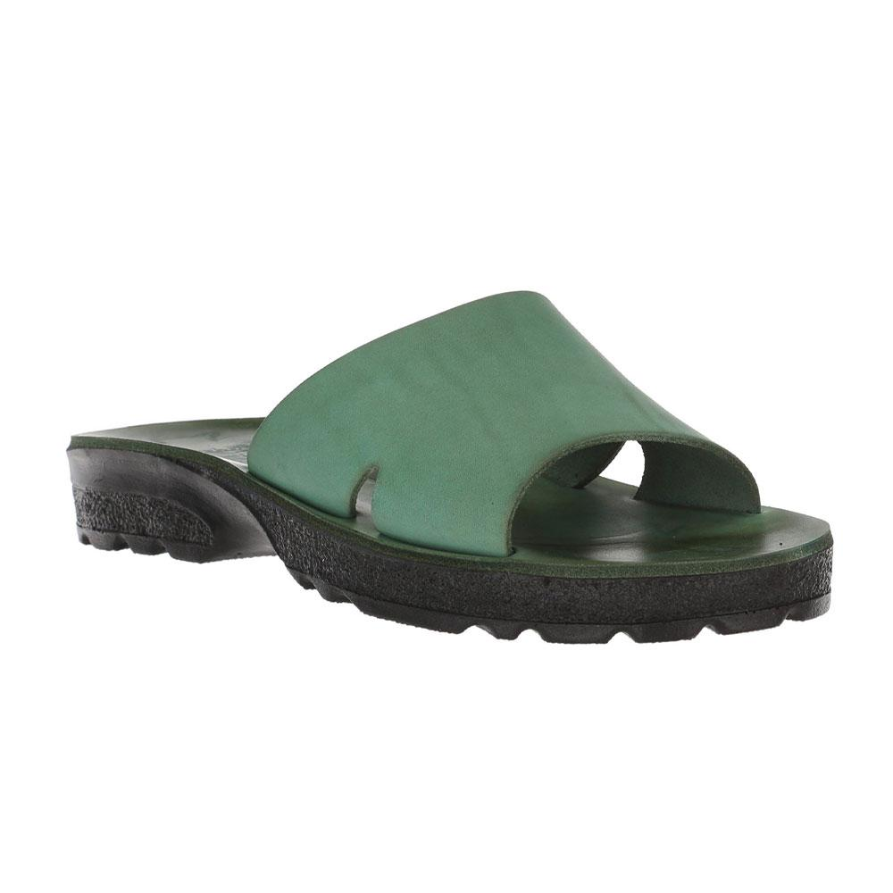 Bashan Green, handmade leather slide sandals - Front View