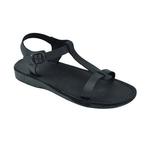 Bathsheba black, handmade leather sandals with back strap  - Front View