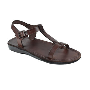 Bathsheba brown, handmade leather sandals with back strap  - Front View