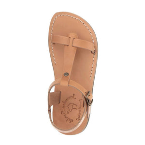 Bathsheba tan, handmade leather sandals with back strap  - side View