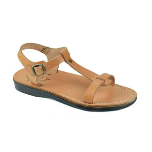 Bathsheba tan, handmade leather sandals with back strap  - Front View