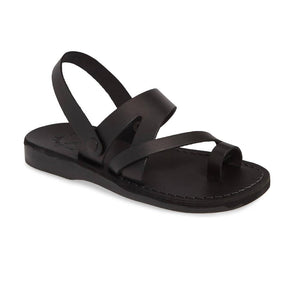 Benjamin black, handmade leather sandals with back strap and toe loop  - Front View