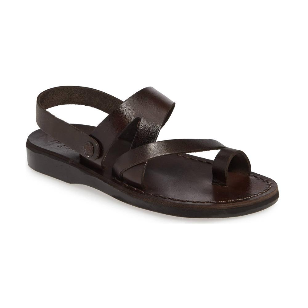 Benjamin brown, handmade leather sandals with back strap and toe loop  - Front View