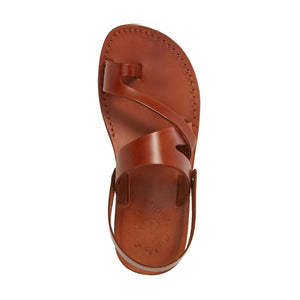 Benjamin honey, handmade leather sandals with back strap and toe loop- Side View