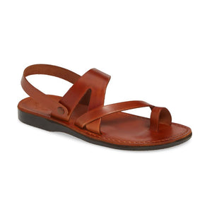 Benjamin honey, handmade leather sandals with back strap and toe loop  - Front View