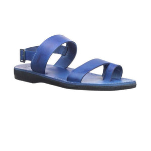 Carmel Blue handmade leather sandals with back strap and toe loop-Side View