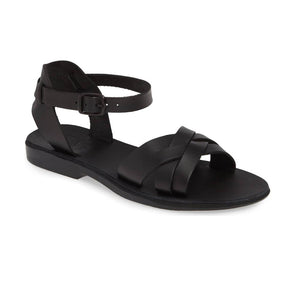 Chloe black, handmade leather sandals with back strap  - Front View