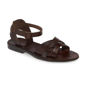 Chloe brown, handmade leather sandals with back strap  - Front View
