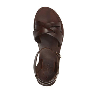 Chloe brown, handmade leather sandals with back strap  - Side View