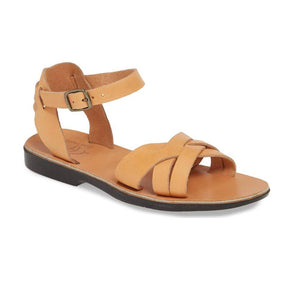 Chloe tan, handmade leather sandals with back strap  - Front View