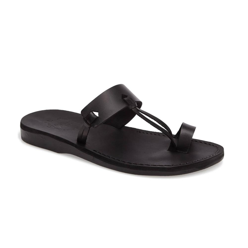 David black, handmade leather slide sandals with toe loop - Front View