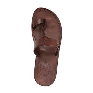 David brown, handmade leather slide sandals with toe loop - side View