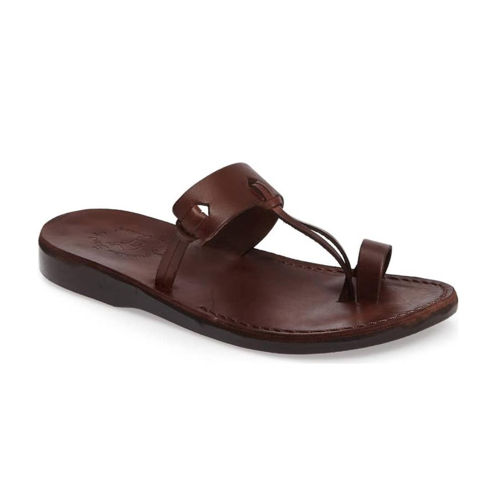 David brown, handmade leather slide sandals with toe loop - Front View