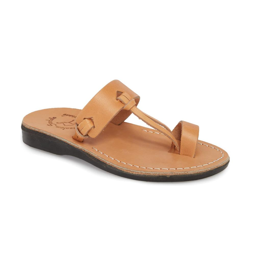 David tan, handmade leather slide sandals with toe loop - Front View