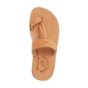 David tan, handmade leather slide sandals with toe loop - Side View