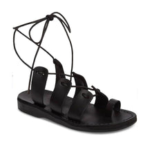 Load image into Gallery viewer, Deborah black, handmade leather sandals with back strap and toe loop  - Front View