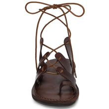 Load image into Gallery viewer, Deborah brown, handmade leather sandals with back strap and toe loop- Side View