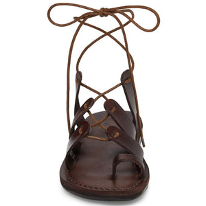 Deborah brown, handmade leather sandals with back strap and toe loop- Side View