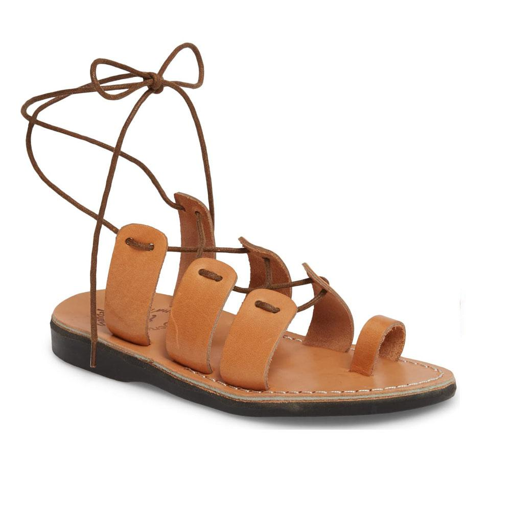 Deborah tan, handmade leather sandals with back strap and toe loop  - Front View