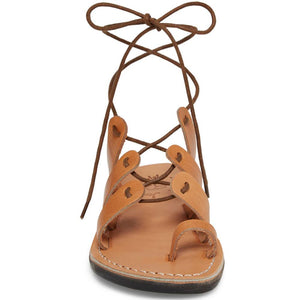 Deborah tan, handmade leather sandals with back strap and toe loop- Side View