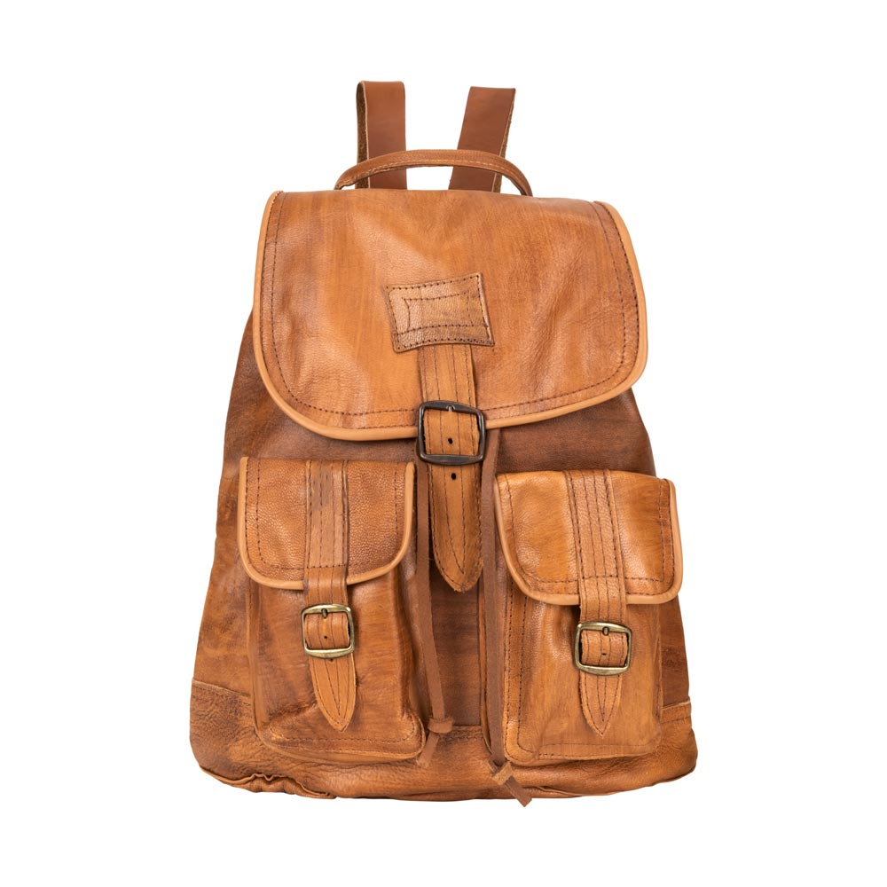 Front Pocket Backpack brown, handmade leather bag - Front View
