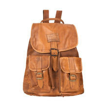 Load image into Gallery viewer, Front Pocket Backpack brown, handmade leather bag - Front View