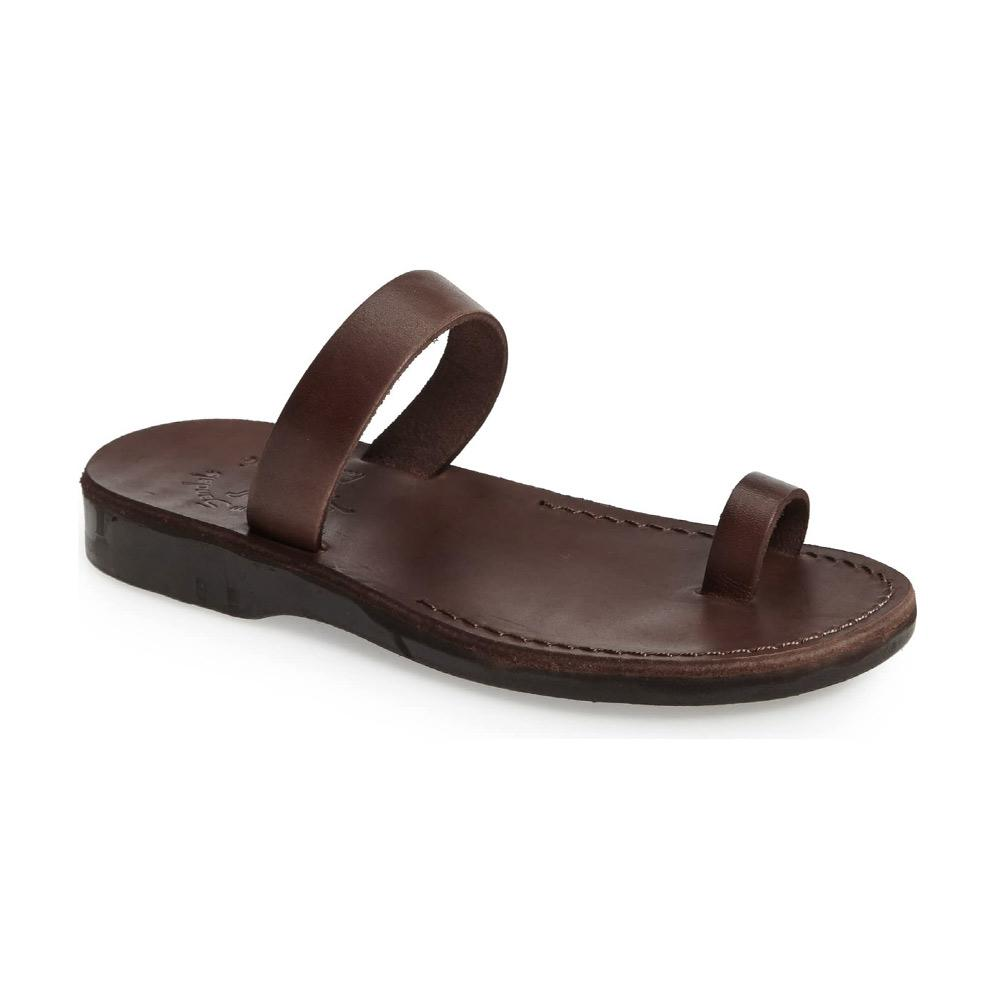 Eden brown, handmade leather slide sandals with toe loop - Front View