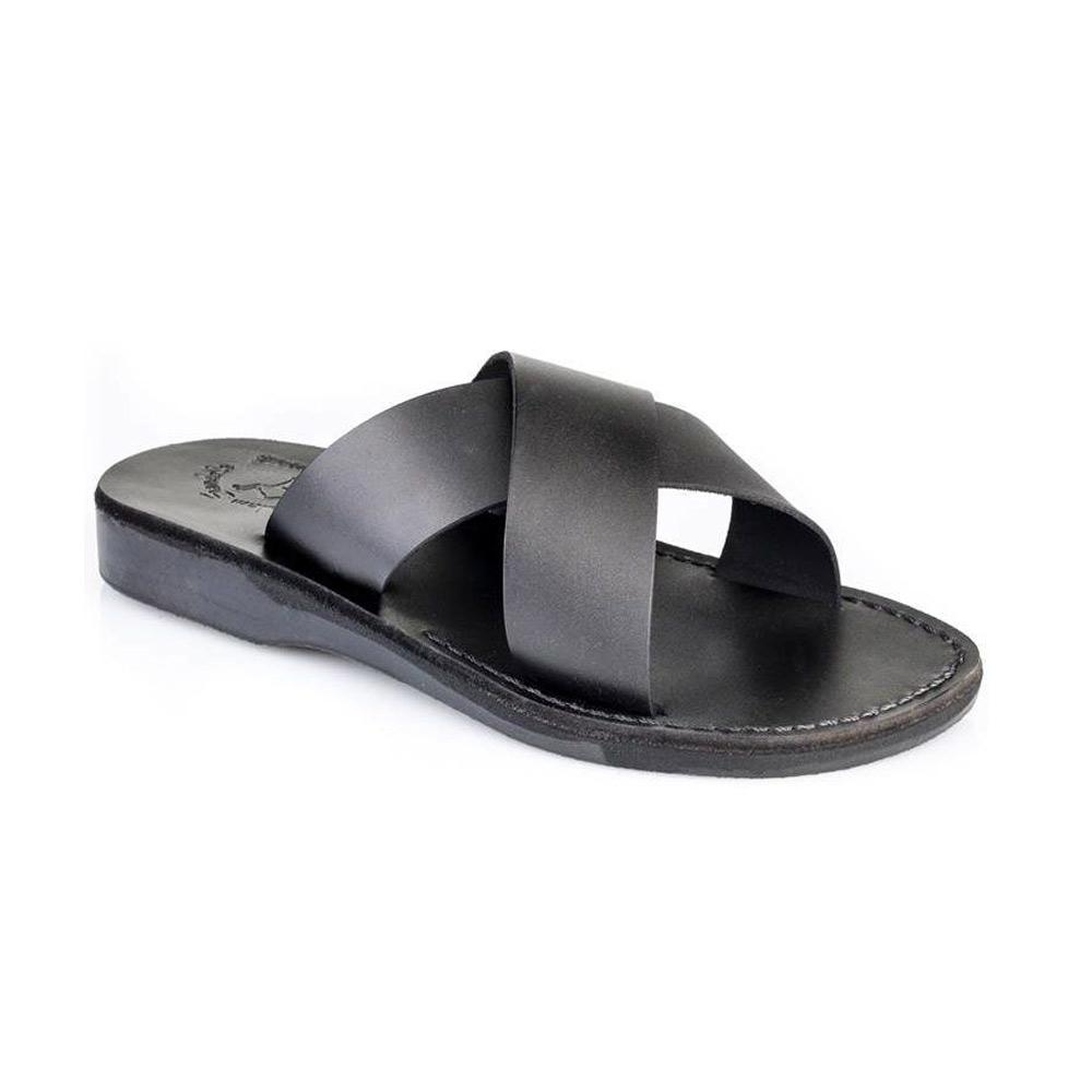 Elan black, handmade leather slide sandals - Front View