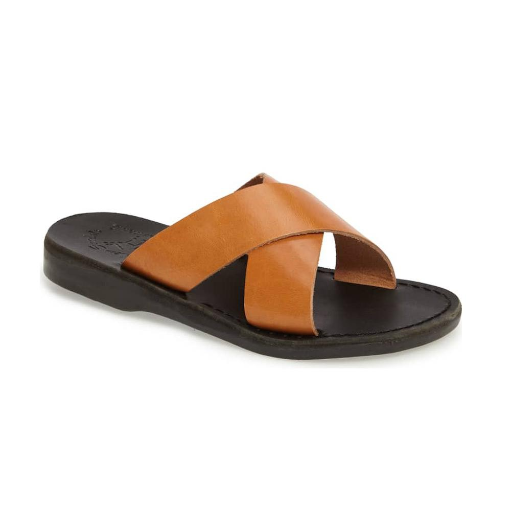 Elan black tan, handmade leather slide sandals - Front View