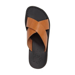 Elan Black Tan, handmade slide leather sandals  - Side View