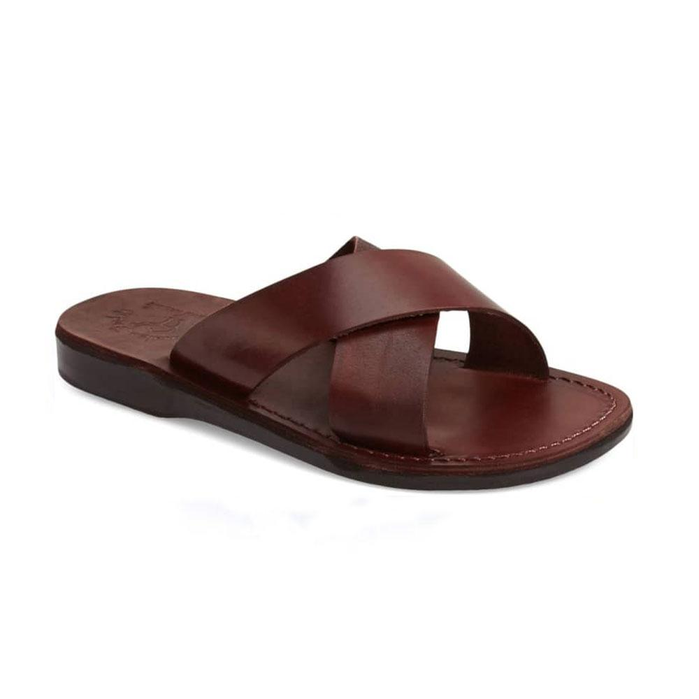 Elan Brown, handmade slide leather sandals  - Front View