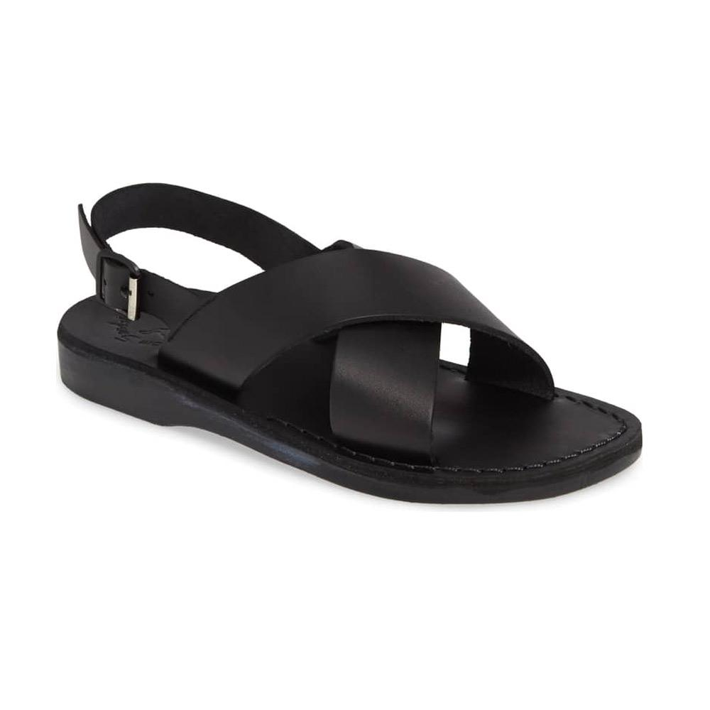 Elan Buckle black, handmade leather sandals with back strap  - Front View