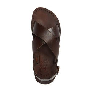 Elan Buckle brown, handmade leather sandals with back strap  - Side View