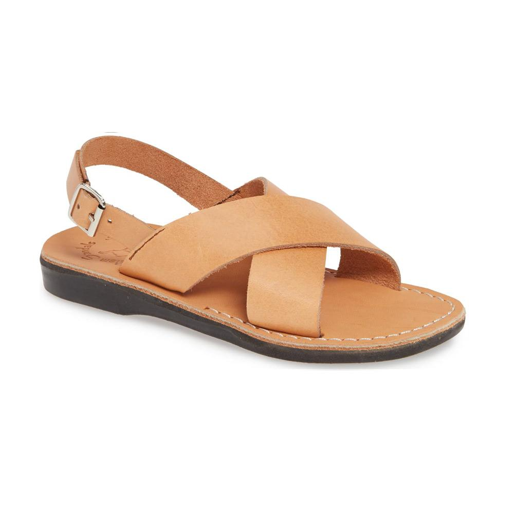 Elan Buckle tan, handmade leather sandals with back strap - Front View