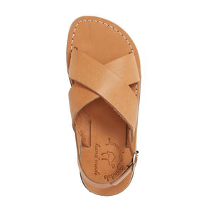 Elan Buckle tan, handmade leather sandals with back strap - Side View