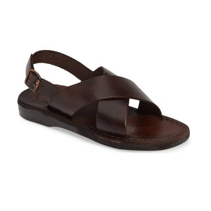 Elan Buckle brown, handmade leather sandals with back strap - Front View