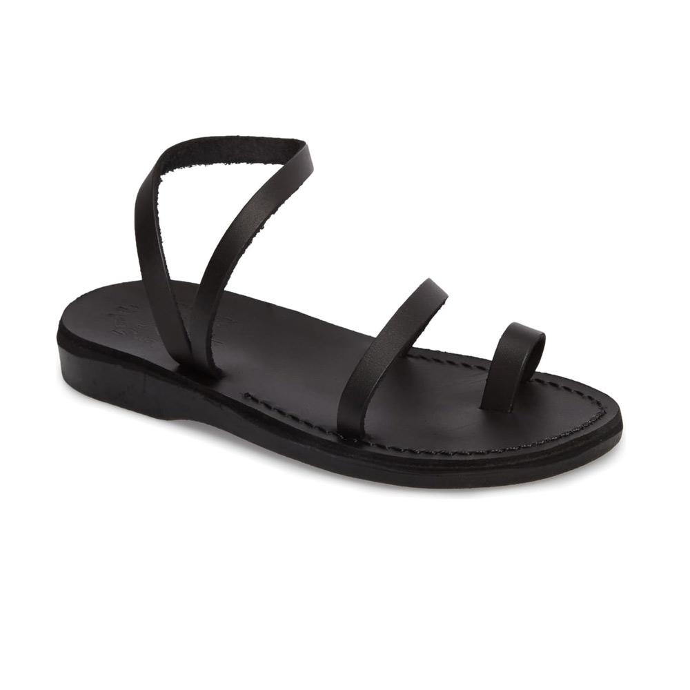 Ella black, handmade leather sandals with back strap and toe loop  - Front View