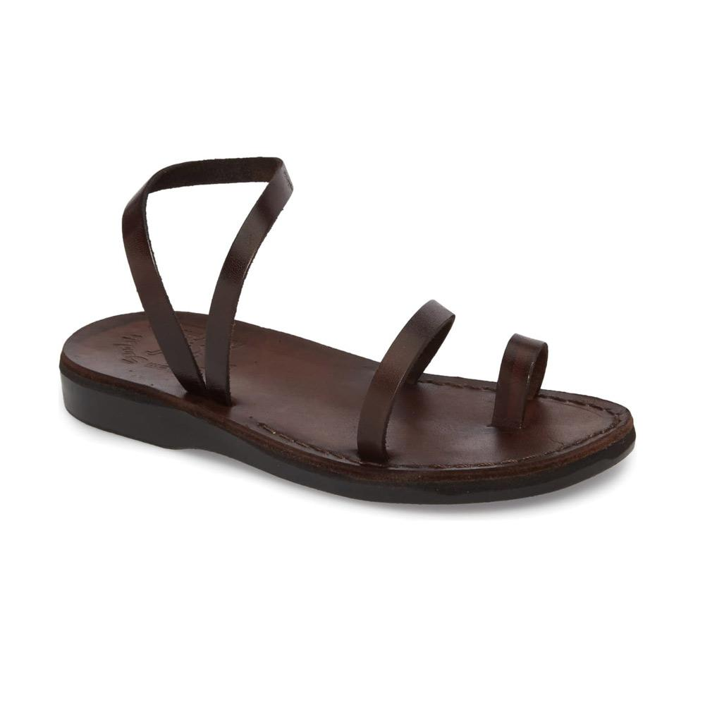 Ella brown, handmade leather sandals with back strap and toe loop  - Front View