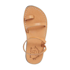Ella tan, handmade leather sandals with back strap and toe loop  - Front View