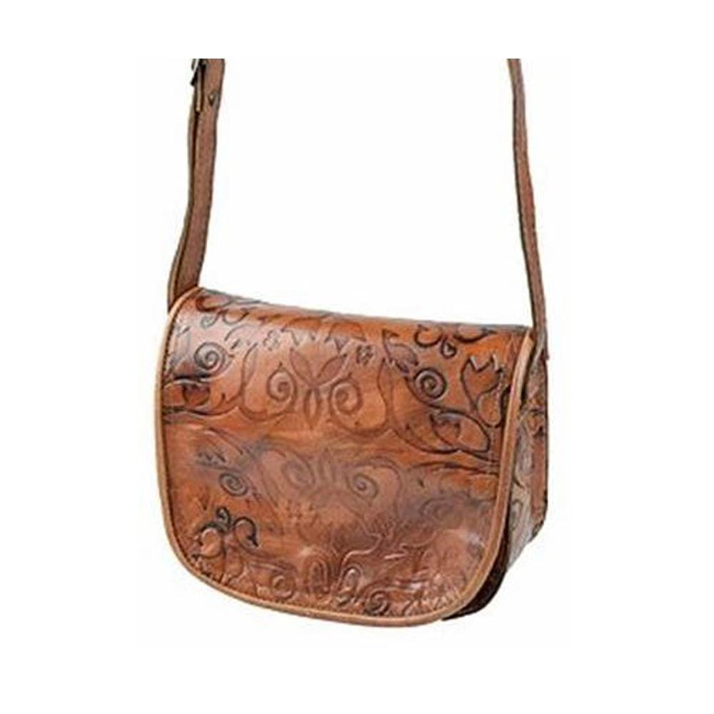 Embossed Cross Body Bag brown, handmade bag - Front View