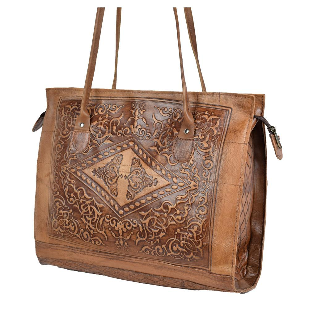 Embossed Leather Tote Handbag brown, handmade leather bag - Front View