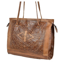 Load image into Gallery viewer, Embossed Leather Tote Handbag brown, handmade leather bag - Front View