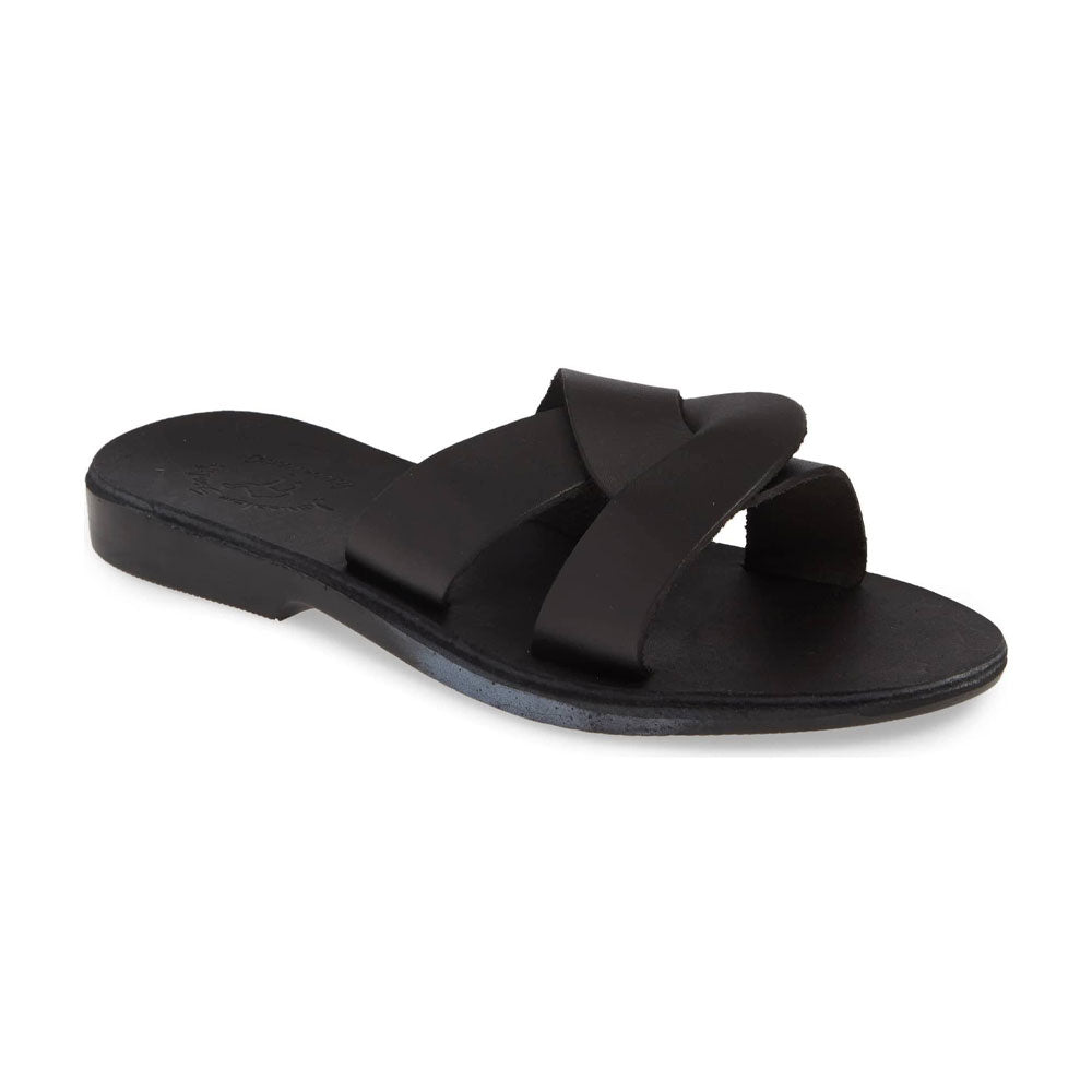 Emily Black, handmade leather slide sandals - Front View