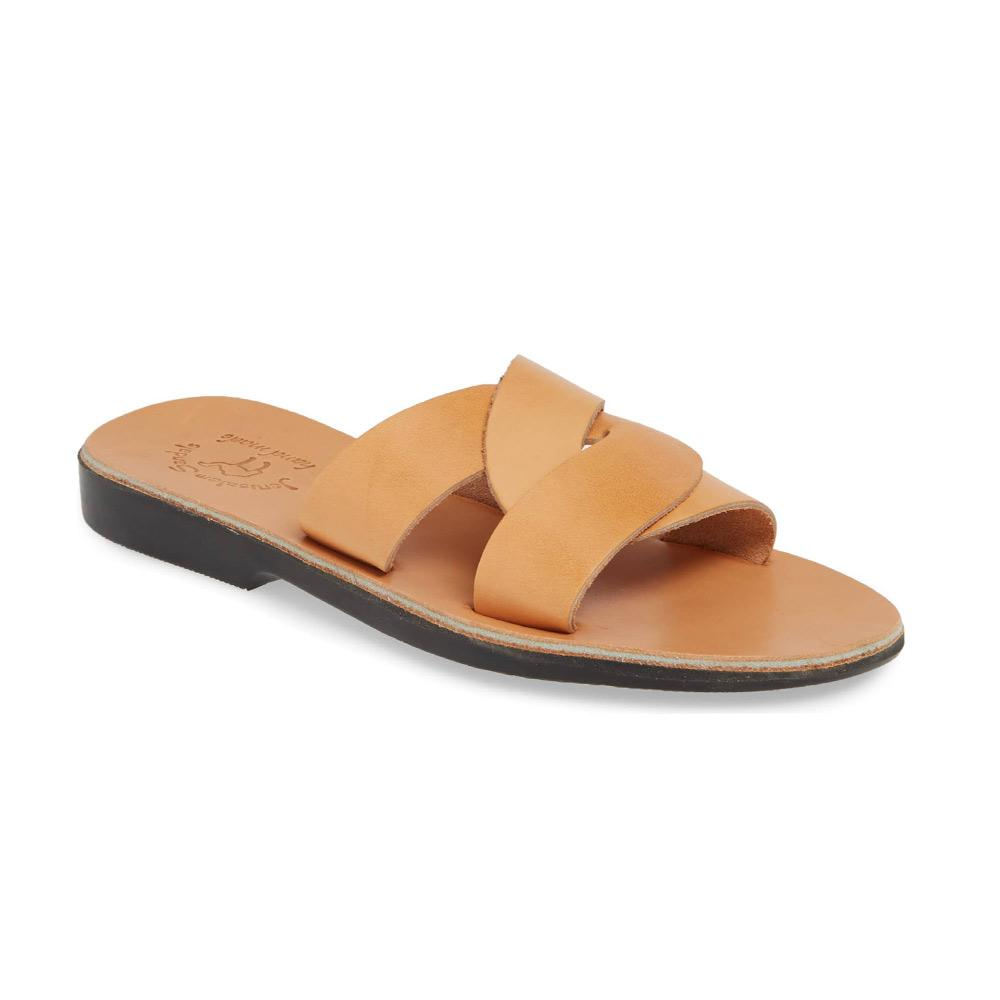 Emily tan, handmade leather slide sandals - Front View
