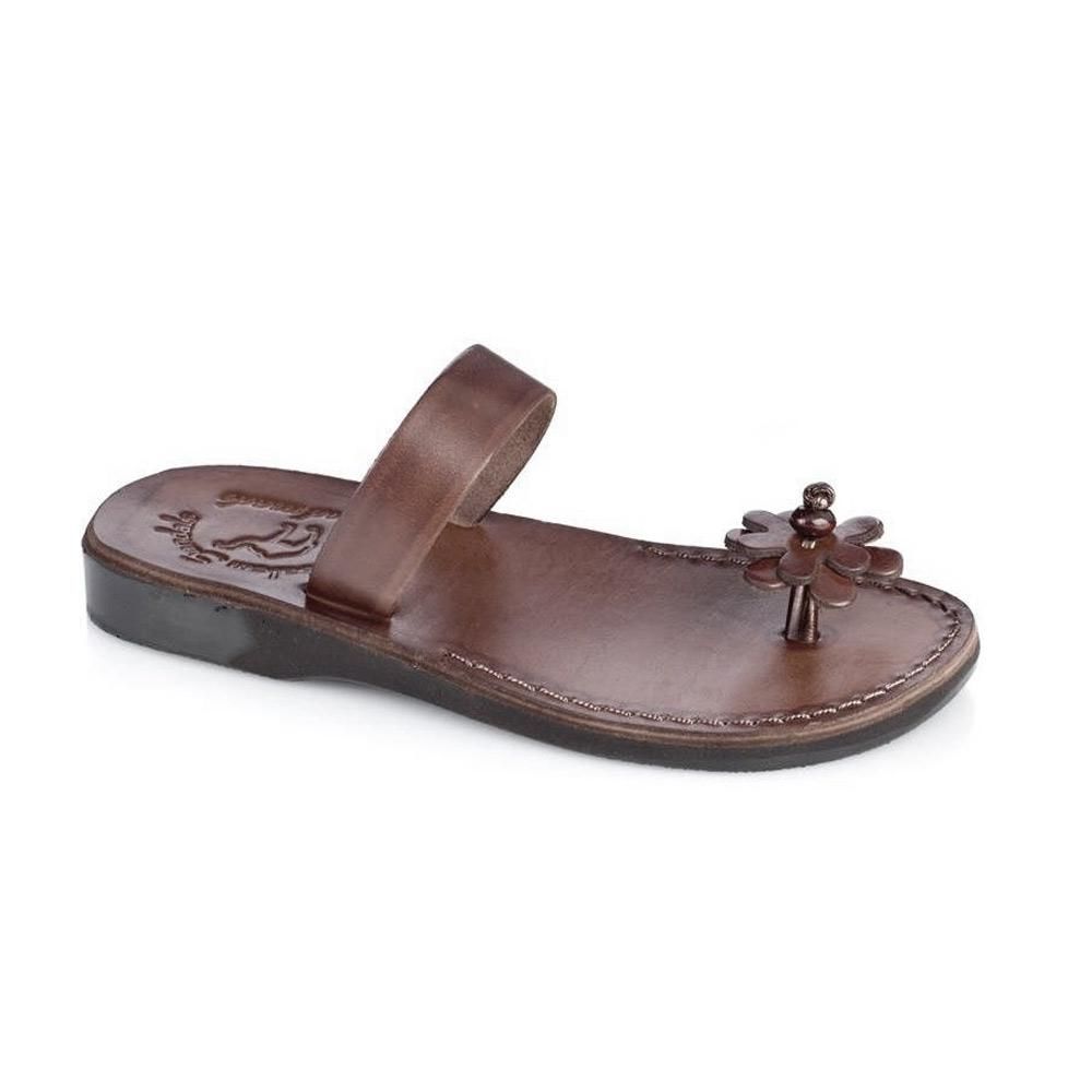 Esther brown, handmade leather slide sandals - Front View