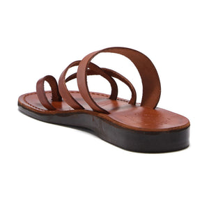 Exodus Honey, handmade leather slide sandals with toe loop - back View