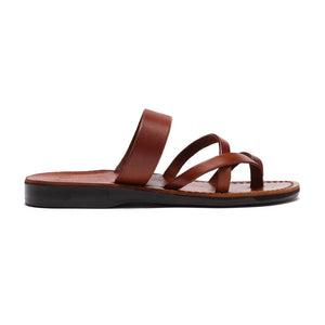 Exodus Honey, handmade leather slide sandals with toe loop - Side View